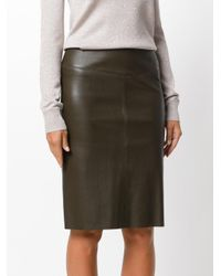 Joseph - Brown Fitted Leather Skirt - Lyst
