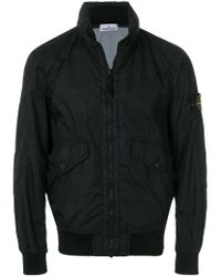 Stone Island - Black Logo Patch Bomber Jacket for Men - Lyst