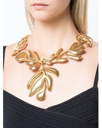 Oscar de la Renta - Metallic Graphic Botanic Necklace - Lyst