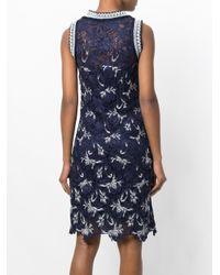 Ermanno Scervino - Blue Floral Lace Rib Trim Dress - Lyst