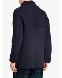 Burberry - Blue Chunky Knitted Jacket for Men - Lyst