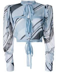 BROGNANO - Blue Printed Tied Cropped Blouse - Lyst