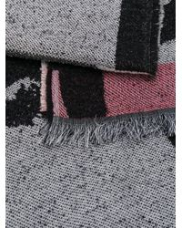 KENZO - Gray Patterned Scarf - Lyst