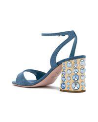 Sebastian - Blue Studded Block Heel Sandals - Lyst