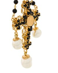 Dolce & Gabbana - Black Beaded Crucifix Necklace - Lyst