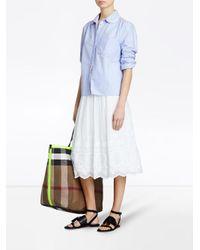 Burberry - Blue Lace Trim Collar Shirt - Lyst