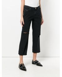 DIESEL - Black Distressed Cropped Boyfriend Jeans - Lyst