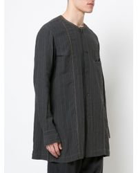 Ziggy Chen - Black Collarless Striped Shirt for Men - Lyst