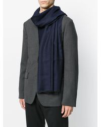Z Zegna - Blue Classic Frayed Scarf for Men - Lyst