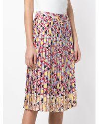 Jil Sander Navy - Red Floral Midi Skirt - Lyst