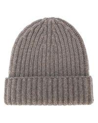 Danielapi - Brown Ribbed Knit Beanie - Lyst