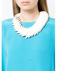 Monies - White Square Plates Necklace - Lyst