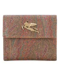 Etro - Brown - Metallic Plaque Bi-fold Wallet - Women - Cotton/polyester/polyurethane/pvc - One Size - Lyst