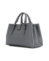 Bottega Veneta - Gray New Light Grey Intrecciato Calf Small Roma Bag - Lyst