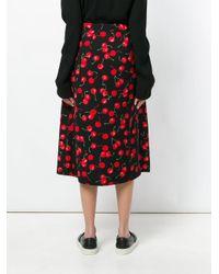Essentiel Antwerp - Black Cherry Print Pleat Skirt - Lyst
