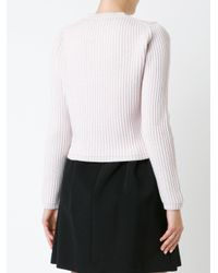 Miu Miu Multicolor Rhinestone And Pearl Embellished Ribbed Sweater