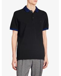Burberry - Black Striped Trim Polo Shirt for Men - Lyst