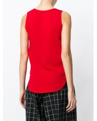 P.A.R.O.S.H. Red Round Neck Tank Top