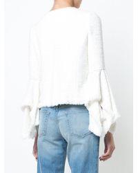Oscar de la Renta - White Belle Sleeve Fringe-trim Jacket - Lyst