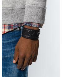 DSquared² - Black Raised Design Cuff for Men - Lyst