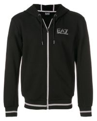 Emporio Armani - Black Contrast-trim Zip-up Hoodie for Men - Lyst