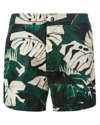 Moncler - Green Plant Print Swimming Trunks for Men - Lyst