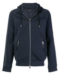 Emporio Armani - Blue Zipped Hoodie for Men - Lyst