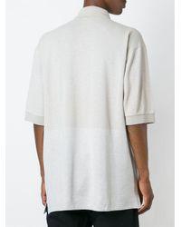 Lanvin - Gray - Contrast Panel Polo Shirt - Men - Cotton/rayon - L for Men - Lyst