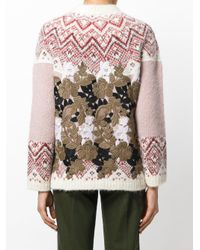 Moncler Gamme Rouge - Multicolor Patterned Jumper With Leaf Overlay - Lyst