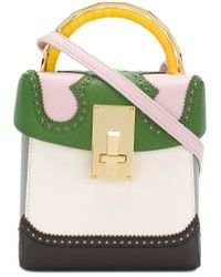 The Volon - Green Brogue Detail Contrast Panel Handbag - Lyst