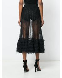 Amen - Black Ruffle Trim Sheer Midi Skirt - Lyst