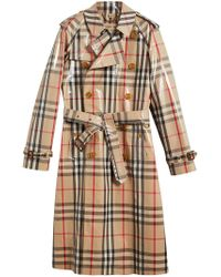 Burberry - Natural Laminated Check Trench Coat - Lyst