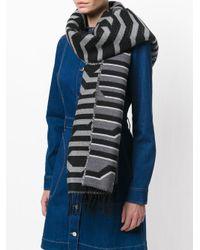 KENZO - Black Striped Scarf - Lyst