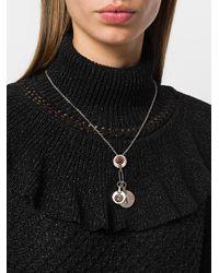 Saint Laurent - Metallic Monogram Pendant Necklace - Lyst