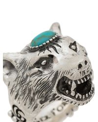 Gucci - Metallic Turquoise Anger Forest Wolf Head Sterling Silver Ring for Men - Lyst