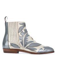 3ebc0fd871d8d Lyst - Santoni Appliqué Ankle Boots in Metallic