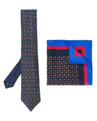 Etro - Blue Printed Tie And Pocket Square for Men - Lyst