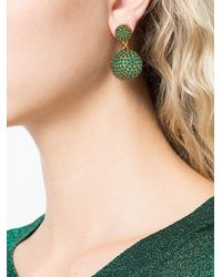 Oscar de la Renta | Green Pavé Dome Earrings | Lyst