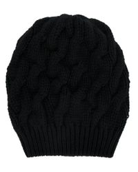 Cruciani - Black Chunky Cable Knit Beanie - Lyst