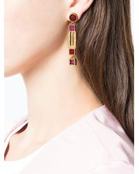 Oscar de la Renta - Pink Geometric Drop Earrings - Lyst