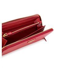 Prada - Red Portafoglio Con Zip 'saffiano' - Lyst