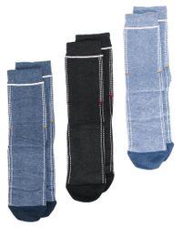 DIESEL - Blue Socks Pack Of Three for Men - Lyst