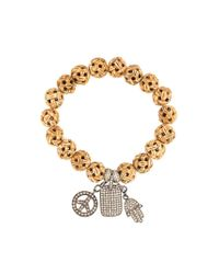Loree Rodkin - Brown Carved Wood Diamond Charm Bracelet - Lyst