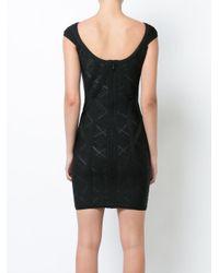 Hervé Léger - Black Alisa Geometric Pointelle With Chevron Bandage Dress - Lyst