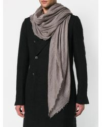 Rick Owens - Gray Cashmere Scarf for Men - Lyst