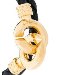 Versace - Black Link Braided Bracelet for Men - Lyst