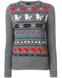 18f06a3af Lyst - Love Moschino Striped Crew Neck Jumper in Gray
