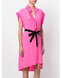 Nude - Pink Ruffled Trim Shirt Dress - Lyst