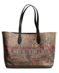 Burberry - Brown Medium Reversible Doodle Tote - Lyst