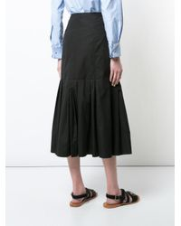 Protagonist - Black Pleated Hem Midi Skirt - Lyst